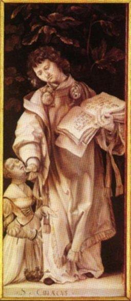 Matthias Grünewald (1460-1528): Den hellige Cyriacus helbreder Artemia, sidefløy på Heller-Altar, Historisches Museum i Frankfurt